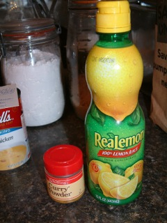 Schilling Curry Powder and ReaLemon lemon juice